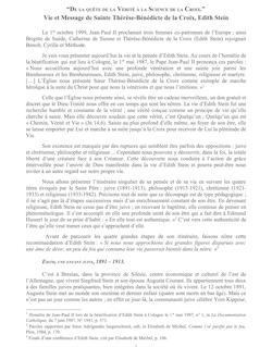 Vie et Message de Sainte Thérèse-Bénédicte de la Croix, Edith Stein