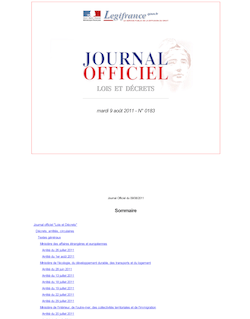 Journal officiel n°0183 du 9 août 2011