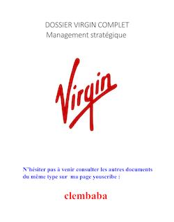 Dossier VIRGIN Management Strategique Complet