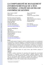 LA COMPTABILITÉ DE MANAGEMENT ENVIRONNEMENTALE OU L'ÉCOCONTRÔLE : UTILITÉ DES OUTILS DE CONTRÔLE DE GESTION