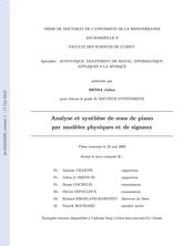 Analyse et synthèse de sons de piano par modèles physiques et de signaux