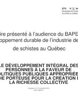 Mémoire présenté à l'audience du BAPE sur le développement ...