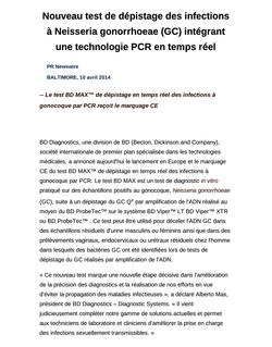 Nouveau test de dépistage des infections à Neisseria gonorrhoeae (GC) intégrant une technologie PCR en temps réel