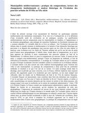 Municipalités méditerranéennes : pratique du comparatisme, lecture des changements institutionnels et analyse historique de l'évolution des pouvoirs urbains du XVIIIe au XXe siècle