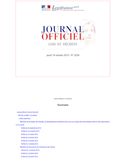 Journal officiel n°0239 du 14 octobre 2010