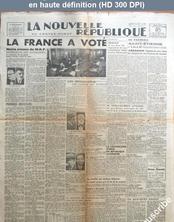 LA NOUVELLE REPUBLIQUE  numéro 546 du 03 juin 1946