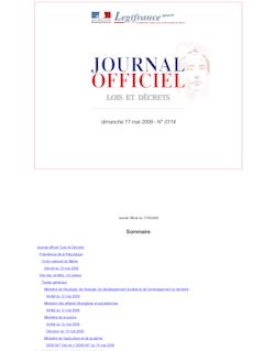 JORF n°0114 du 17 mai 2009