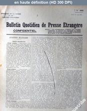 BULLETIN QUOTIDIEN DE PRESSE ETRANGERE numéro 909 du 27 août 1918