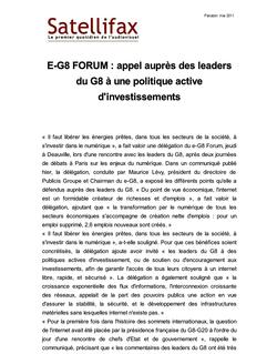 article du 31 mai 2011 - E-G8 FORUM : appel auprès des leaders du G8 à une politique active d'investissements