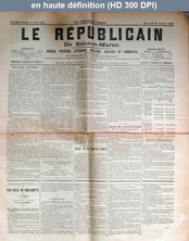 LE REPUBLICAIN DE SEINE ET MARNE  numéro 1361 du 21 janvier 1885