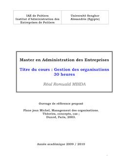 PRESENTATION COURS ORGANISATION