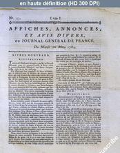 JOURNAL GENERAL DE FRANCE numéro 33 du 16 mars 1784