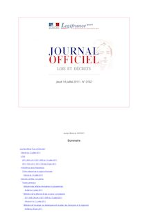 Journal officiel n°0162 du 14 juillet 2011