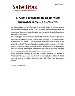 article du 08 mars 2011 - SACEM : lancement de sa première application mobile, Les oeuvres