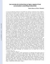Les carnets de recherche en ligne, espace d'une conversation scientifique décentrée