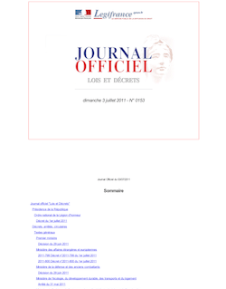 Journal officiel n°0153 du 3 juillet 2011