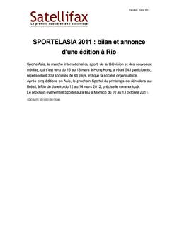 article du 21 mars 2011 - SPORTELASIA 2011 : bilan et annonce d'une édition à Rio