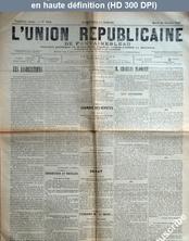 L' UNION REPUBLICAINE DE FONTAINEBLEAU  numéro 1921 du 28 janvier 1896