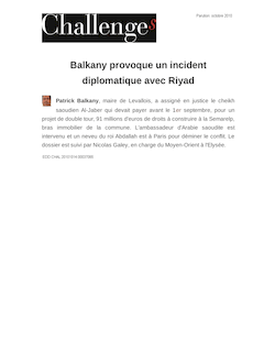 Balkany provoque un incident diplomatique avec Riyad