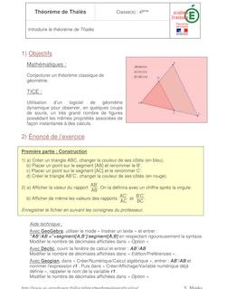 Théorème de Thalès Classe s 4ème