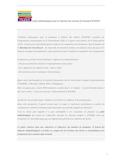 Guide méthodologique pour la rédaction des contenus de formation ...
