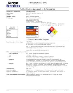FICHE SIGNALÉTIQUE 1. Identification du produit et de l'entreprise ...