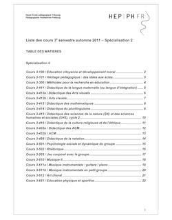Liste des cours 3 semestre automne 2011 – Spécialisation 2