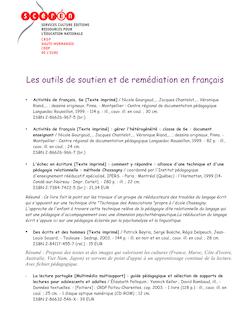 Les outils de soutien et de remédiation en français