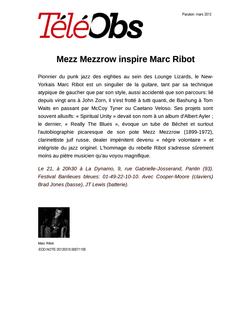 Mezz Mezzrow inspire Marc Ribot