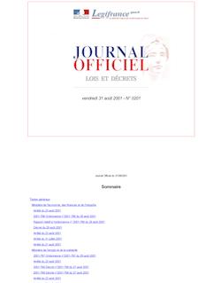 Journal officiel n°201 du 31 août 2001