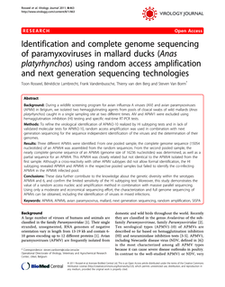 Identification and complete genome sequencing of paramyxoviruses in mallard ducks (Anas platyrhynchos) using random access amplification and next generation sequencing technologies
