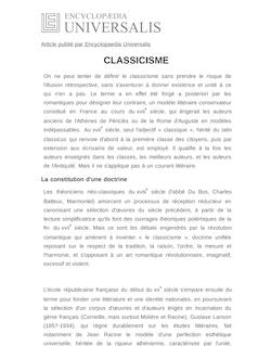 Définition et synonyme de : CLASSICISME