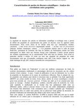 Caractérisation de parties de discours scientifiques : Analyse des corrélations entre propriétés