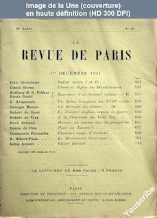 LA REVUE DE PARIS  numéro 23 du 01 décembre 1931