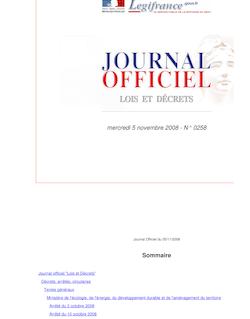 Journal officiel n°0258 du 5 novembre 2008