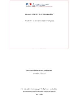 Décret n°2004-1274 du 26 novembre 2004