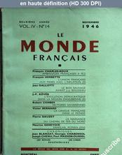 LE MONDE FRANCAIS  numéro 14 du 01 novembre 1946