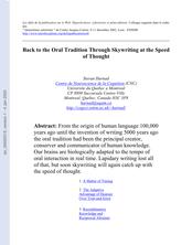 Back to the Oral Tradition Through Skywriting at the Speed of Thought (Ranimer la tradition orale par la ciélographie à la vélocité de l'esprit)