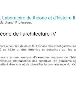 Théorie de l'architecture IV