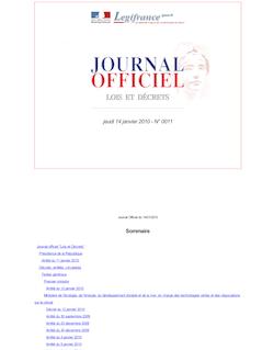 Journal officiel n°0011 du 14 janvier 2010
