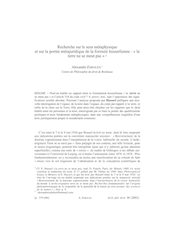 Zabalza Husserl (Lecture seule