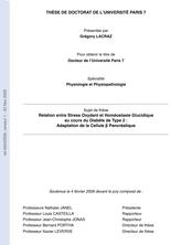 Relation entre Stress Oxydant et Homéostasie Glucidique au cours du Diabète de Type 2 : Adaptation de la Cellule β Pancréatique