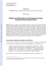 Religion and Nationalism in Contemporary Europe: Towards a Renewed Syncretism?