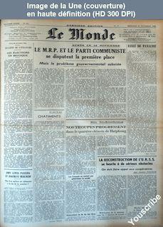 LE MONDE   numéro 601 du 27 novembre 1946