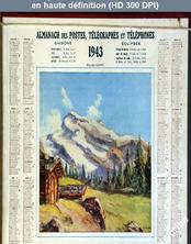 calendrier des postes du 01 janvier 1943