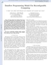 Dataflow Programming Model For Reconfigurable Computing