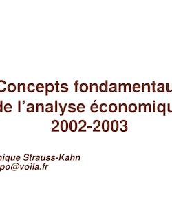 Concepts fondamentaux de l'analyse économique 2002-2003