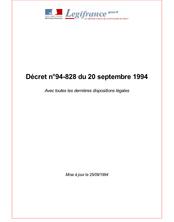 Décret n°94-828 du 20 septembre 1994