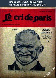 LE CRI DE PARIS  numéro 1597 du 06 novembre 1927