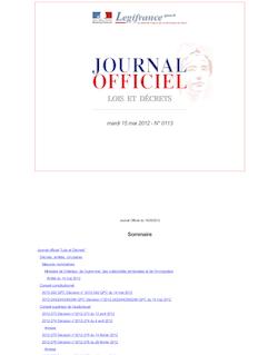 Journal officiel n°0113 du 15 mai 2012